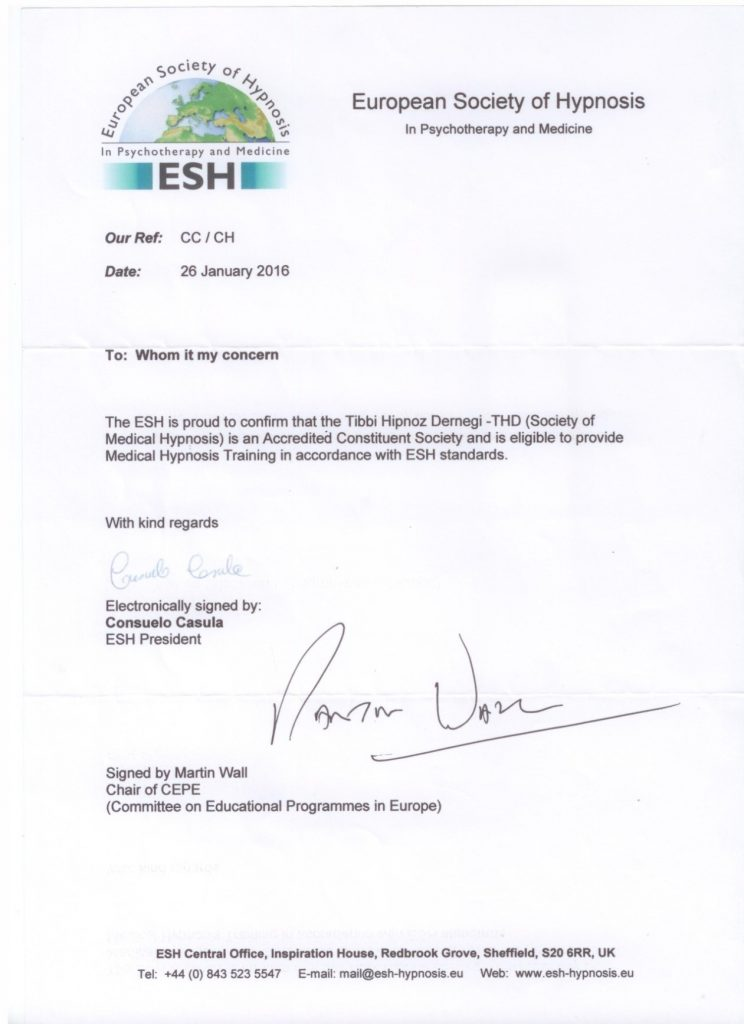 European Society of Hypnosis tarafından verilen Eğitim Yetki Belgemiz